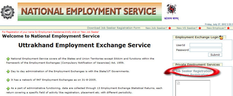 Uttarakhand Employment exchange registration process